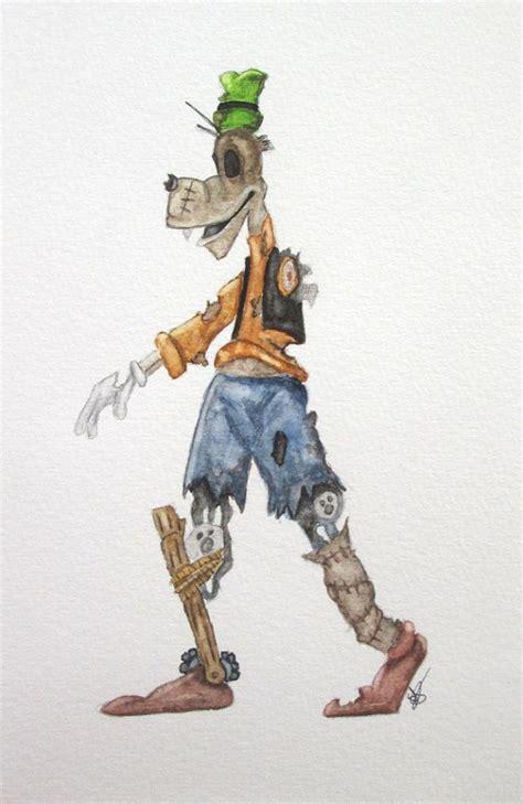 Print Of Original Watercolor Zombie Goofy By