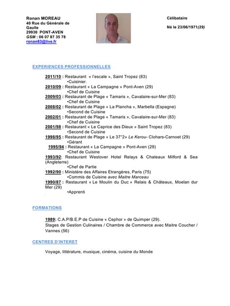 cv commis de cuisine cv word ronan 2011 doc par sandrine cv word ronan 2011