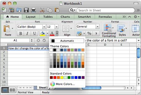 how to change the tab font color in excel 2007 word 2010