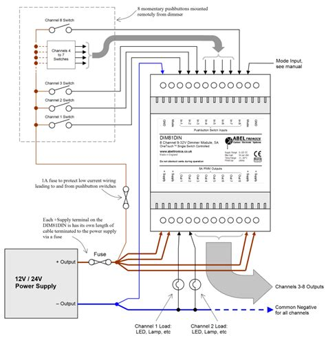 Wire Diagram 24v Driver by Dim81din 8 Channel Led Dimmer Push Switch Controlled