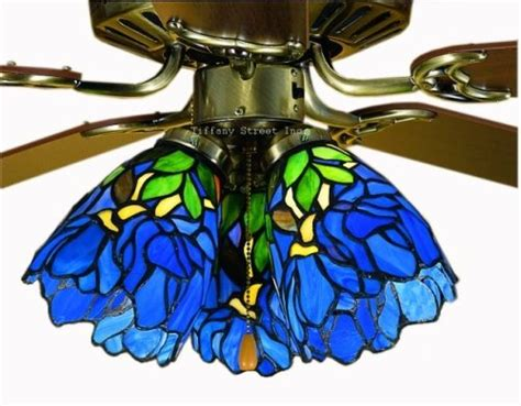 iris ceiling fan control blue iris tiffany stained glass ceiling fan 52 inches