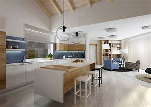 Cuisine avec ilot blanc et bois for Idee deco cuisine avec meuble salle a manger contemporain massif