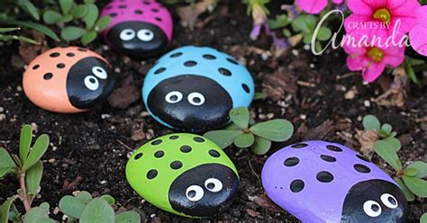 ladybug painted rocks ladybug rocks   garden