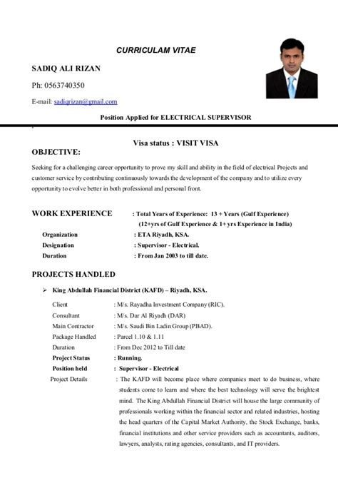 Electrical Supervisor Curriculum Vitae by 100 Supervisor Resume Format Free Resume Templates Resume Click Here To This