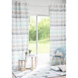 rideau 224 œillets en coton bleu 110 x 250 cm trendy maisons du monde