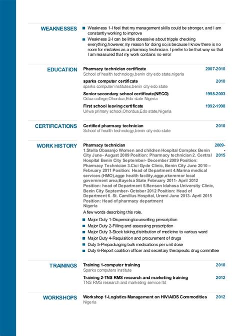 resume for admission into pharmacy school