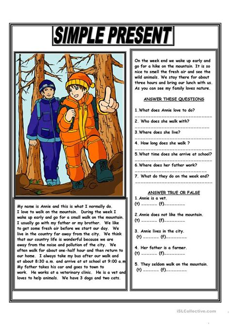 simple present reading comprehension text worksheet