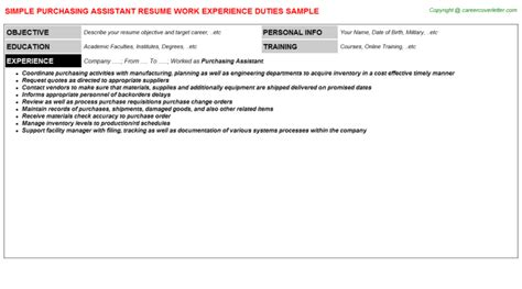 Assistant Purchasing Resume by Purchasing Assistant Resume Sle