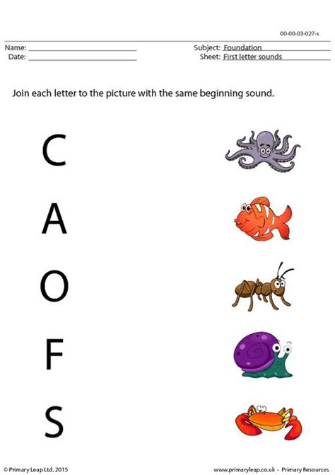 foundation  letter sounds matching worksheet