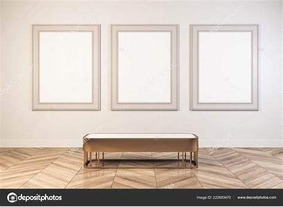 Empty Museum Bench Interior Bright Seat Poster