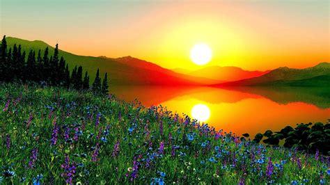 Sunrise Most Beautiful Places World  Home Art Decor #68761