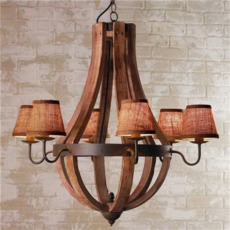 wooden wine barrel stave chandelier mediterranean