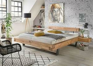 La Natura Möbel : schwebe balkenbett wildeiche massivholz mit metallgestell ~ Watch28wear.com Haus und Dekorationen