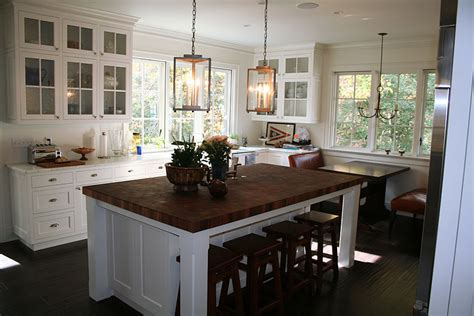 kitchen island with raised bar sapele mahogany butcher block countertop in edgewater md