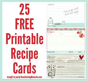 printable recipe cards home cooking memories