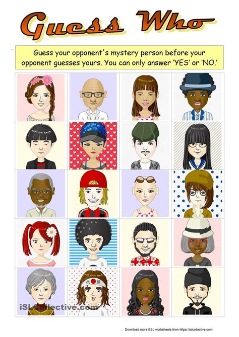 guess  boardgame   characters  images esl