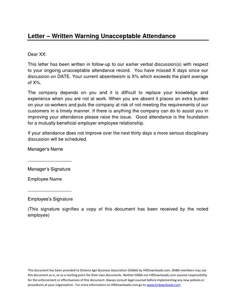employee absence warning letter poor attendance sample