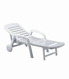 Bain De Soleil Avec Accoudoir : bain de soleil pliant r sine blanche avec roulettes dossier r glable ~ Teatrodelosmanantiales.com Idées de Décoration