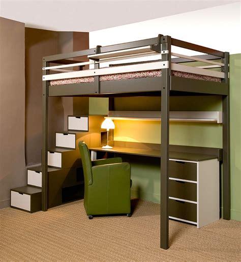 rangement bureau lit mezzanine ado avec bureau et rangement