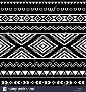 Tribal seamless aztec white pattern on black background ...