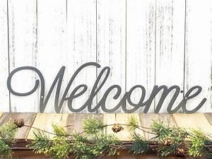 Welcome, Script, Metal, Sign