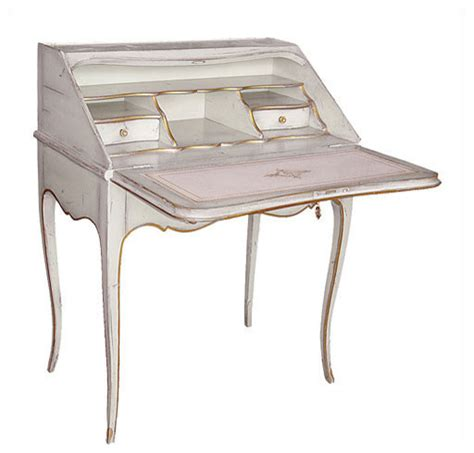 louis xv style drop front writing desk with white finish