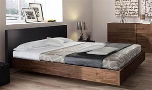 Lit 180x200 Bois : lit scandinave en bois noyer 180x200 king size float ~ Teatrodelosmanantiales.com Idées de Décoration