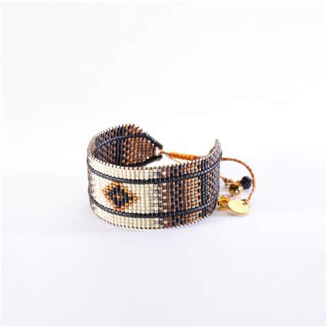 mishky bracelet ethnique en perles marron beige rays le 3327
