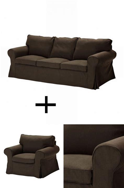 ikea ektorp  seat sofa  armchair slipcover set covers svanby brown discontinued