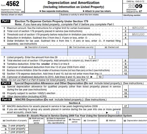 federal form 4562 instructions irs form 4562 information and instructions