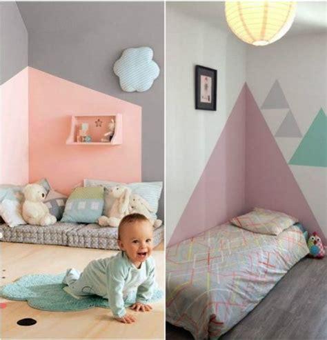 chambre enfants fille créer une tete de lit en peinture 20 inspirations canons