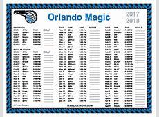 Printable 20172018 Orlando Magic Schedule