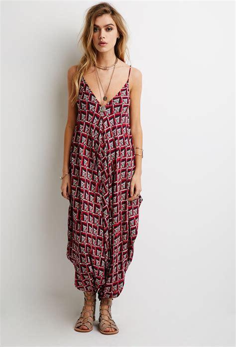 jumpsuit forever 21 forever 21 ornate print harem jumpsuit in lyst