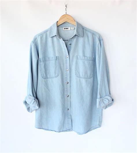 light blue button up shirt womens vintage 80s light blue jean button up shirt s