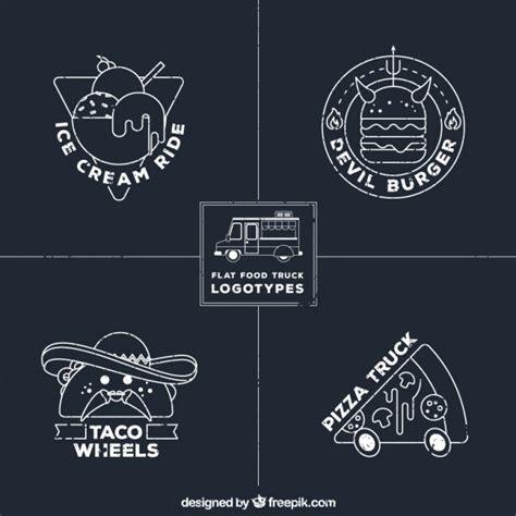 chalkboard logo templates free hand drawn food truck logos in chalkboard style vector