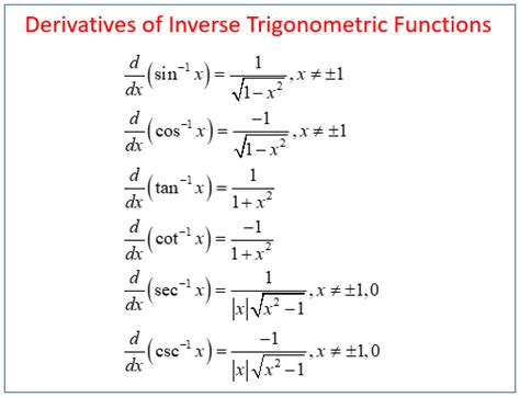 Calculus  Inverse Trig Derivatives (solutions, Examples