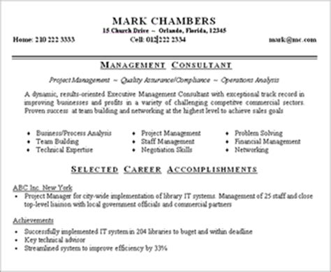 management consultant resume sle
