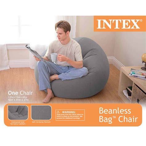 Beanless Bag Chair India by Intex Lounge Beanless Lounger Bag Chair Grey