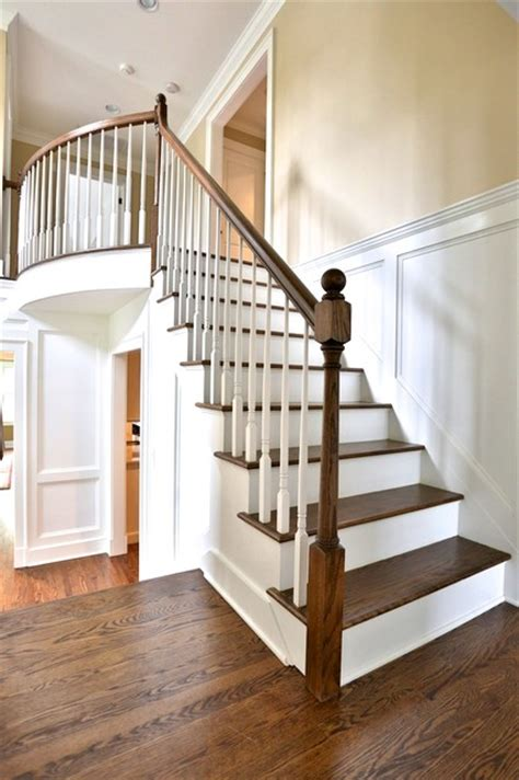 open stairs  custom wood paneling traditional