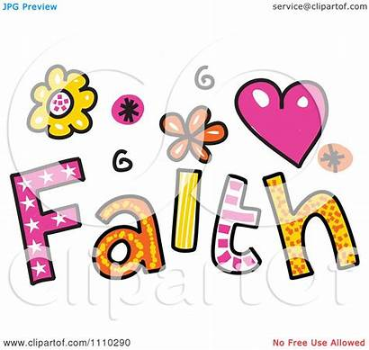 Faith Clip Clipart Colorful Word Sketched Prawny