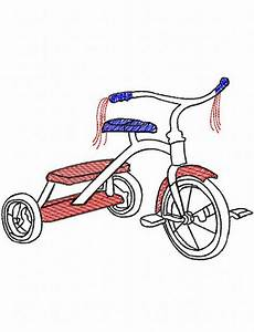 Tricycle Sketch Embroidery Design: Jazzy Zebra Designs