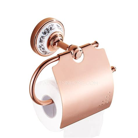 rose gold ceramic bathroom toilet paper roll holders