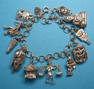 Vintage Sterling Silver Asian Charm Bracelet - Eight Rare ...