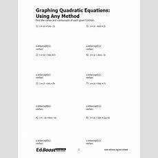 Graphing Quadratic Equations Using Any Method Edboost