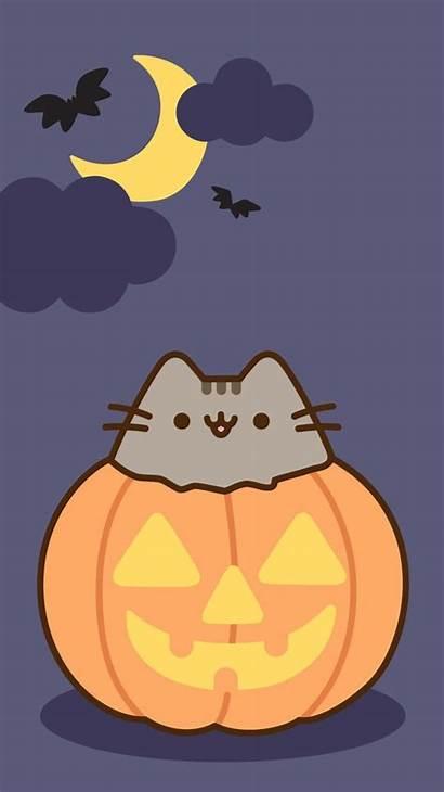 Pusheen Halloween Wallpapers Cat Background Iphone Kawaii