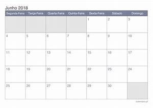 Calendário junho 2018 para imprimir iCalendário pt