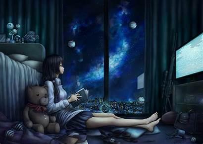 Night Anime Space Computer Pc Reading Midnight