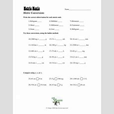 Metric Mania Worksheet