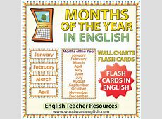 English Months of the Year – Flash Cards Charts