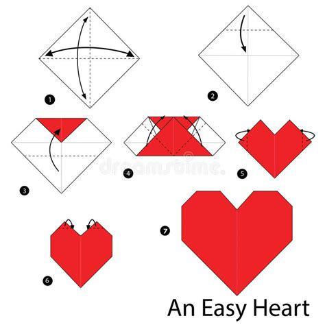 comment faire un origami 233 par 233 comment faire 224 origami un coeur facile illustration de vecteur
